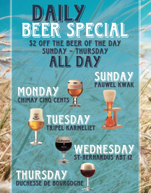 Daily Beer Special - $2 off the beer of the day Sunday-Thursday